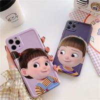 Cartoon boy girl big face iphone case