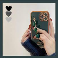 Green heart strap iphone case