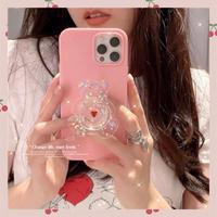 Pink glitter bear grip iphone case