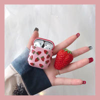Pink strawberry airpods case