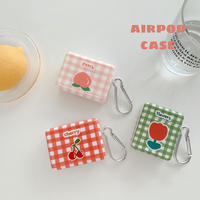 Flower cherry peach check airpods case
