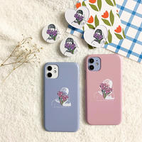 Purple flower couple with grip case