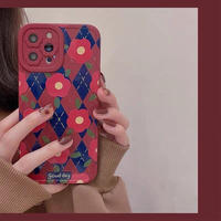 Red flower check iphone case