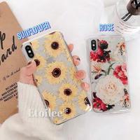 Flower glitter clear iphone case