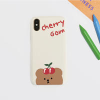 Cherrycherry bear hard with grip case (Cream)