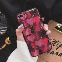 Red heart glitter iphone case