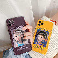 Cartoon boy girl expression with grip iphone case