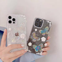 Butterfly flower glitter iphone case