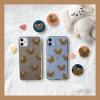 Peach bear mirror/clear case