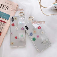 Color flower clear strap iphone case