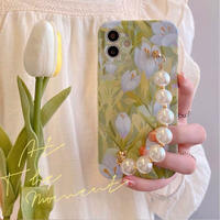 Green blossom pearl strap iphone case