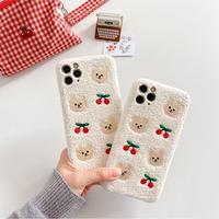 Cherry bear white fur iphone case
