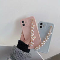 Pastel color pearl strap iphone case