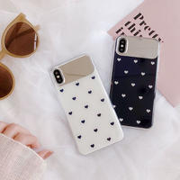 White black heart mirror iphone case