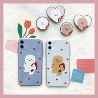 Flower bichon clear with grip case
