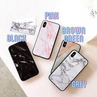Simple marble BLACK side iphone case