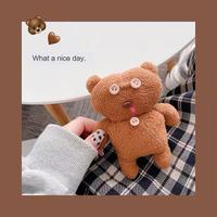 Brown button bear doll airpods case