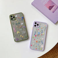 Flower pattern olive purple color side iphone case