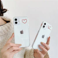 Red heart side line iphone case