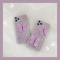 Purple butterfly glitter iphone case