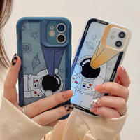 Astronaut blue yellow iphone case