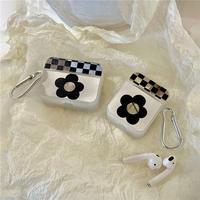 Black flower silver airpods case