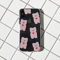 (Pink) Pattern love bear clear case