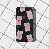 (Pink) Pattern love bear clear case