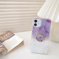 Purple white half marble grip iphone case