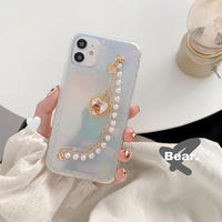 Bear pearl strap hologram iphone case