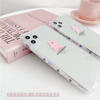Pink rabbit bear line clear iphone case