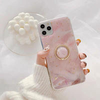 Pink glitter marble with grip iphone case