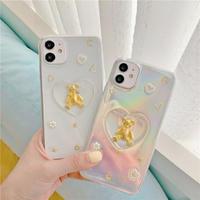 Big heart bear shape glitter iphone case