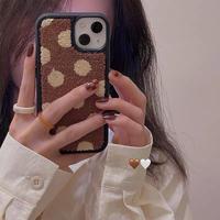 Brown dot pattern iphone case