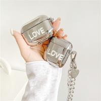 Love silver airpods case
