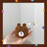 Brown bear knit airpods case