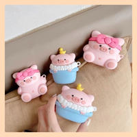 Pink blue pig airpods case