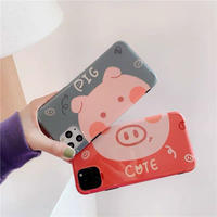 Pig couple green red iphone case