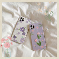 Flower embroidered purple white iphone case