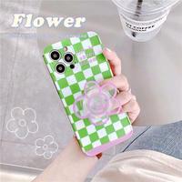 Purple flower clear grip iphone case