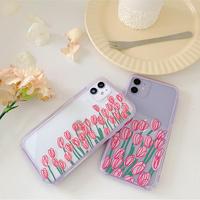 Pink tulip purple side iphone case