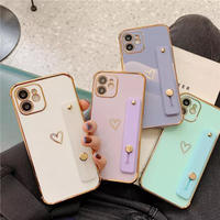 One gold heart strap iphone case