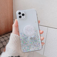 Clear glitter with grip iphone case