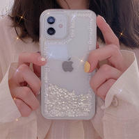 White letters glitter quicksand iphone case