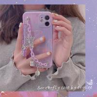 Purple butterfly strap iphone case