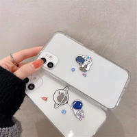Astronaut planet clear iphone case
