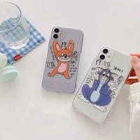 Mouse cat black line doodle clear iphone case