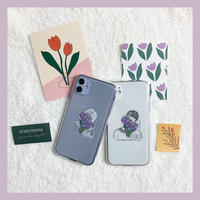 Purple flower boy girl couple case