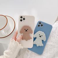 Poodle grey brown grip iphone case