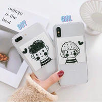 Couple drawing clear  iphone case